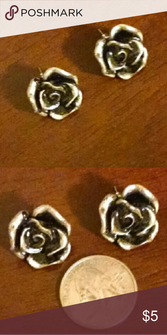Rose Stud Earrings Silver colored Rose Stud Earrings are painted glossy black to give dimension.  Beautiful!  **Bundle with a top or dress to complete an outfit** Forever 21 Jewelry Earrings