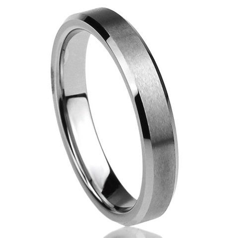 Tungsten Ring Tungsten Wedding Ring Mens Wedding Band 4mm Stone Finished Center And Beveled Edges Ring Anniversary Wedding Laser Engraving