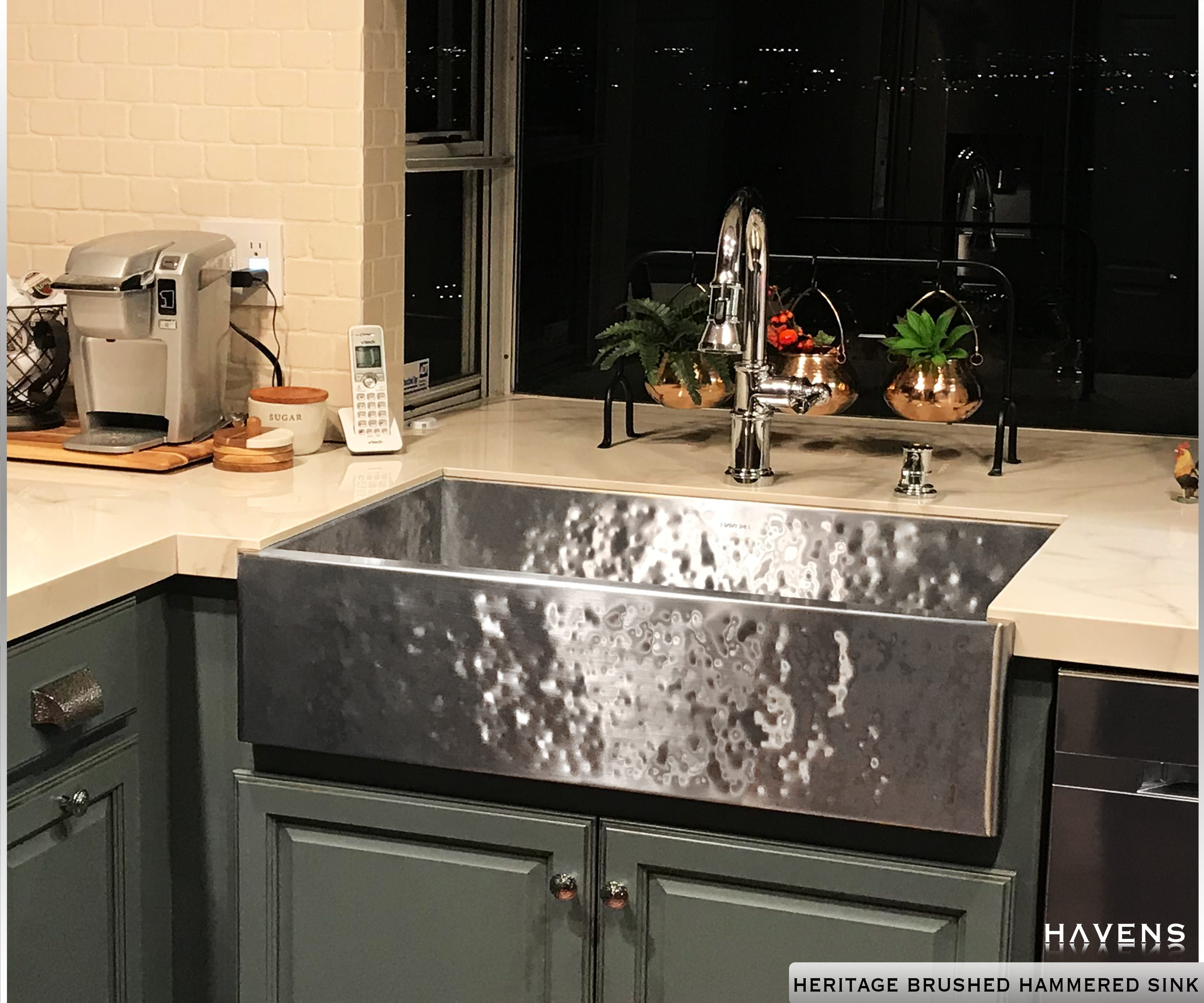 Stainless Hammered Farmhouse Sink Stainless Steel Farmhouse Sink Timeless Kitchen Farmhouse Sink Kitchen