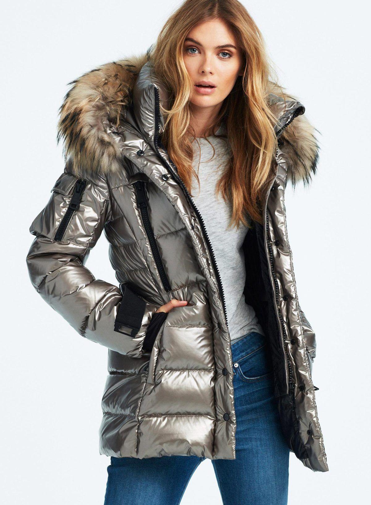 Millennium Gunmetal Puffer Jacket Women Fur Hood Jacket Shiny Jacket [ 1633 x 1200 Pixel ]