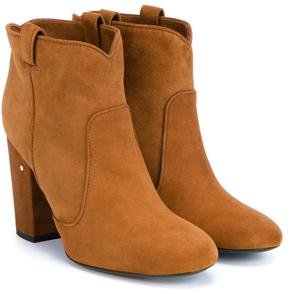 Laurence Dacade Pete Suede Ankle Boot found on Polyvore featuring shoes, boots, ankle booties, cognac, short boots, suede ankle booties, cognac booties, retro boots and suede booties