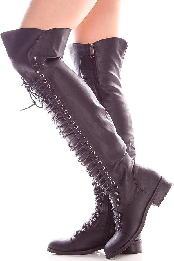239fdea1752 BLACK FAUX LEATHER SIDE ZIPPER OVER THE KNEE HIGH BOOTS