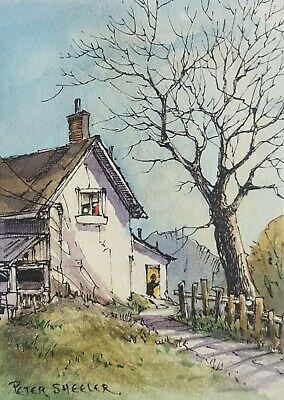 Back Door ACEO 2 5 x3 5 Original Watercolor Peter Sheeler farm house country