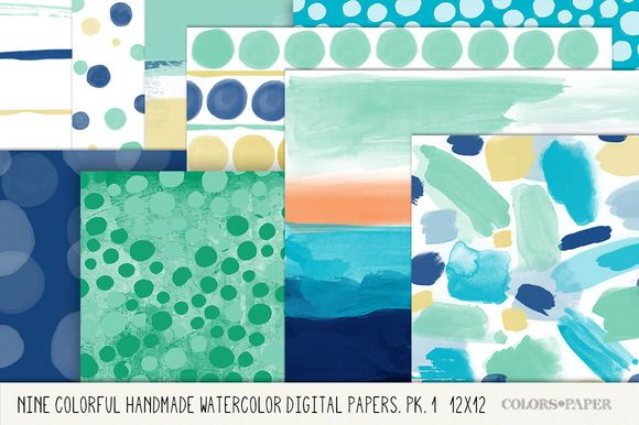 Handmade Watercolor Digital Paper Pk by Colors on Paper on Creative Market
