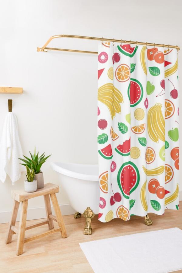 mixed fruit shower curtain sea