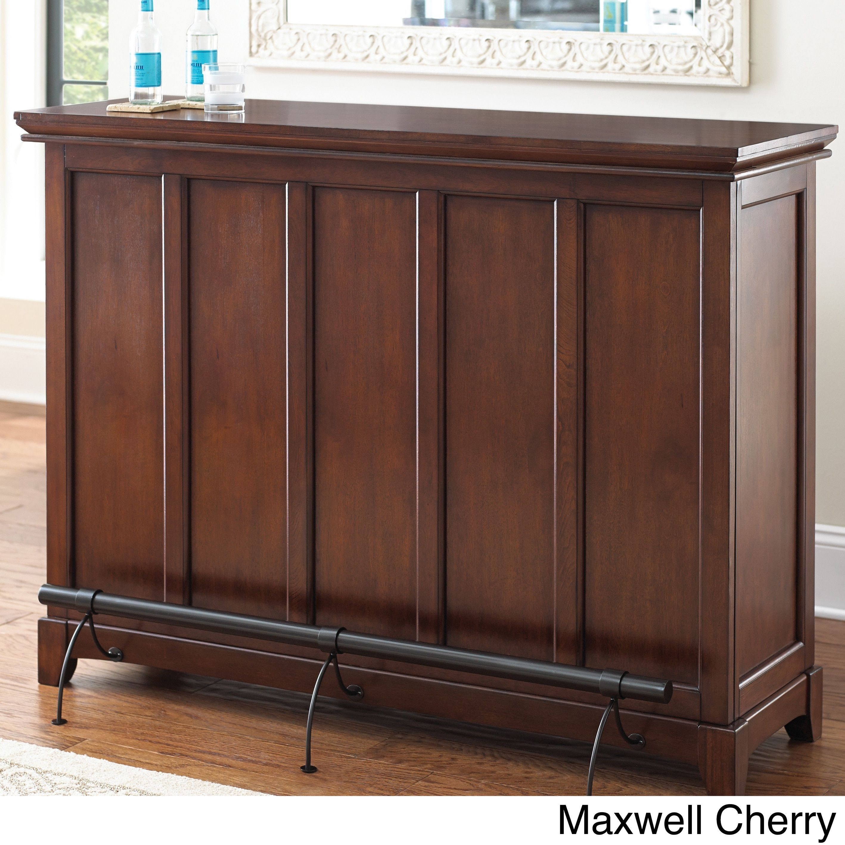 Greyson living maxwell home bar with foot rail maxwell oak counter