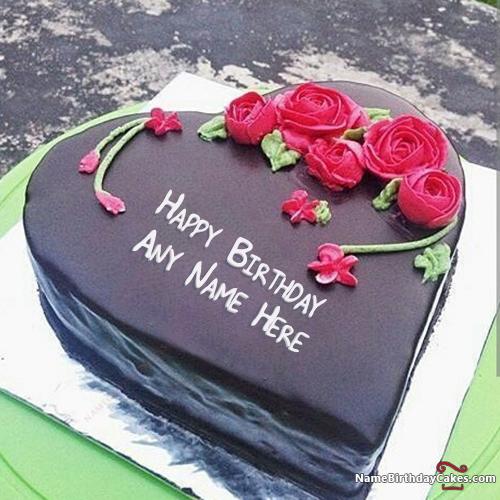 write name on heart shape german chocolate cake for birthday wish