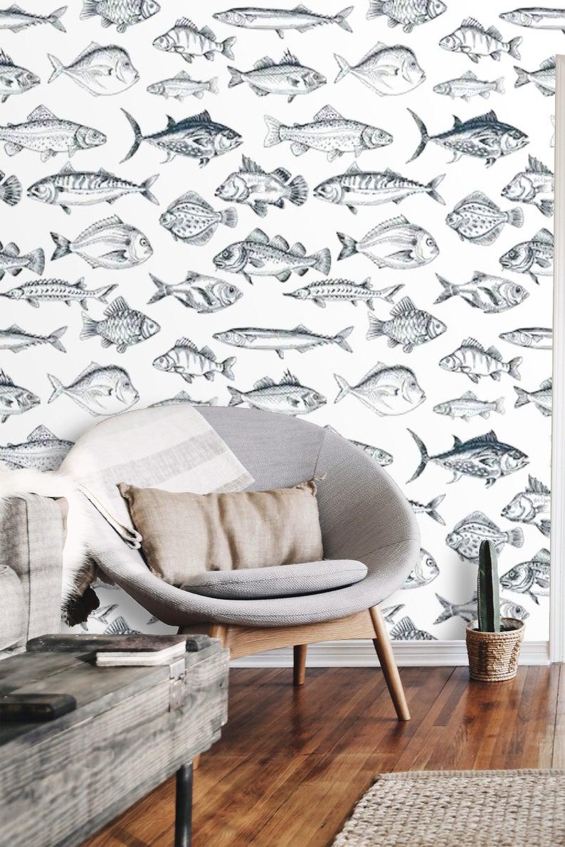 Peel And Stick Nautical Wallpaper Self Adhesive Wallpaper Fish Etsy Nautical Wallpaper Girls Room Wallpaper Wallpaper Accent Wall