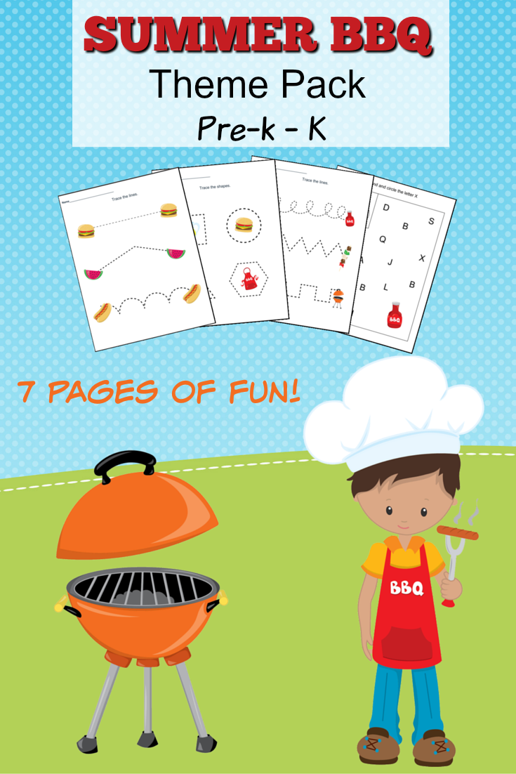 Summer Bbq Theme Pack Worksheets For Pr K To Kindergarten Bbq Theme Kids Daycare Fun Lesson Plans [ 1102 x 735 Pixel ]