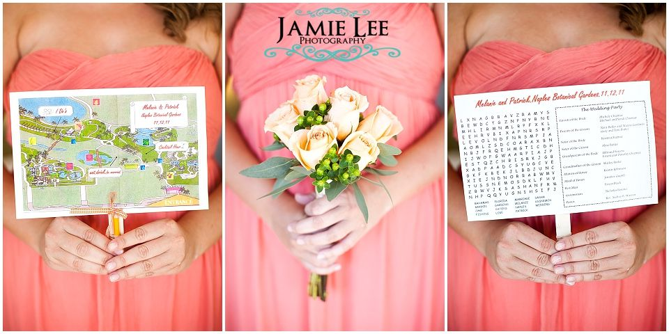 Fun wedding programs with map and games on a stick Fun