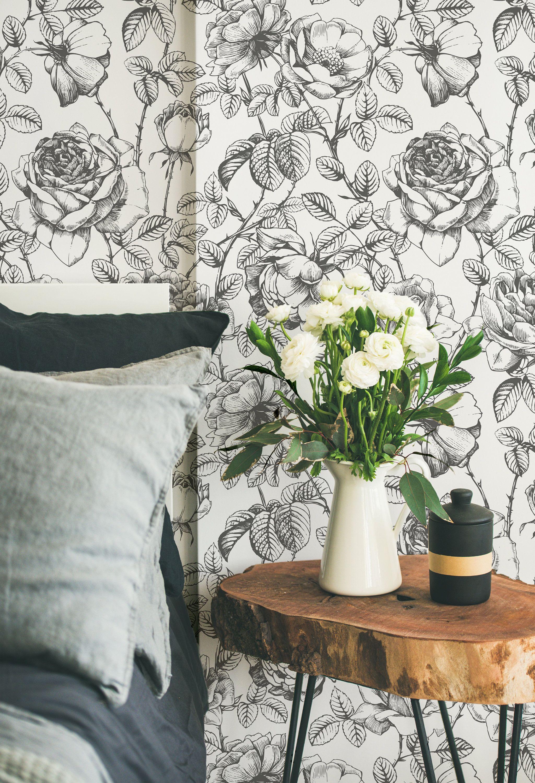 English Rose Floral Peel N Stick Or Prepasted Etsy English Roses Prepasted Wallpaper Couple Wallpaper