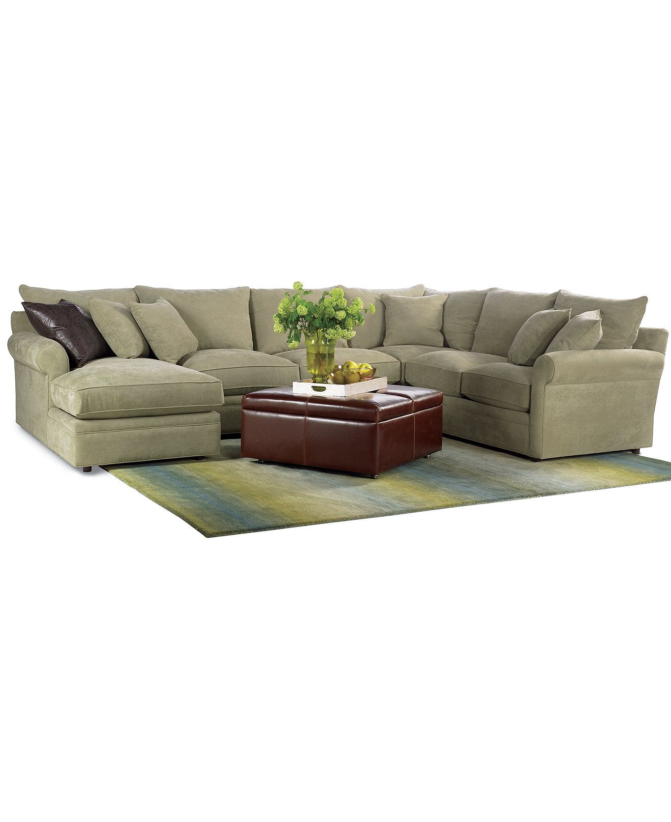 Doss Fabric Microfiber Sectional Sofa 4 Piece Left Arm Facing