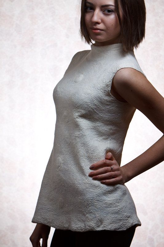 White nuno felted blouse two sided textured by jezek on Etsy
