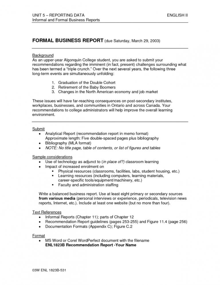 Formal Business Report Format Template Sample Pdf Ple