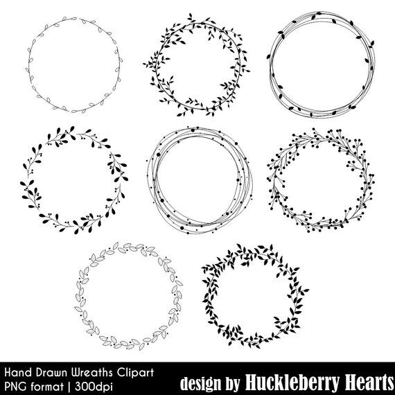 Wreath Clipart, Hand Drawn, Digital Wreaths, Wedding Clipart, Floral, Leaves, Printable, Commercial Use