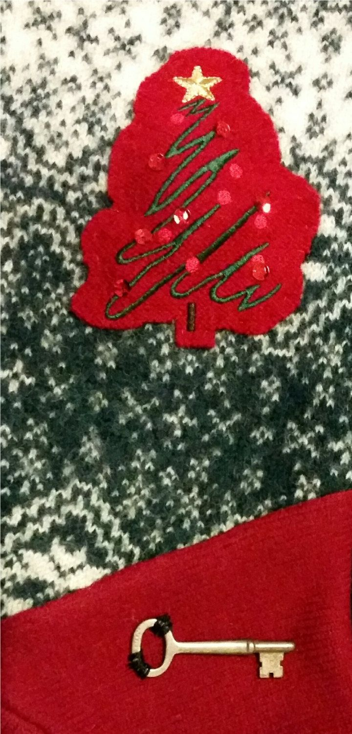 Christmas Green and Red with Christmas tree on front of Felted Stocking by NancysAccessories on Etsy