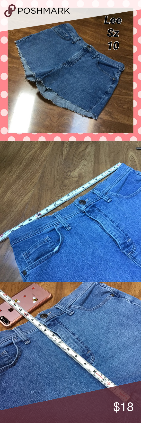 Lee cut off jean shorts Frayed edge.  See measurement pics for sizing specifics. Lee Shorts Jean Shorts