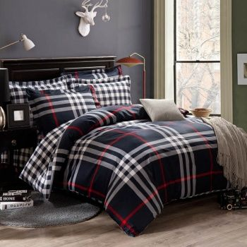 Dark Blue White And Red Southwestern Tartan Plaid Print 100 Cotton Full Queen Size Bedding Sets Bedding Sets Striped Bed Sheets Bedding Sets Uk