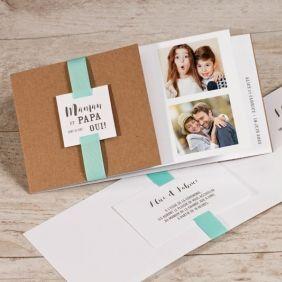 Faire part mariage effet livre photo et ruban vert menthe