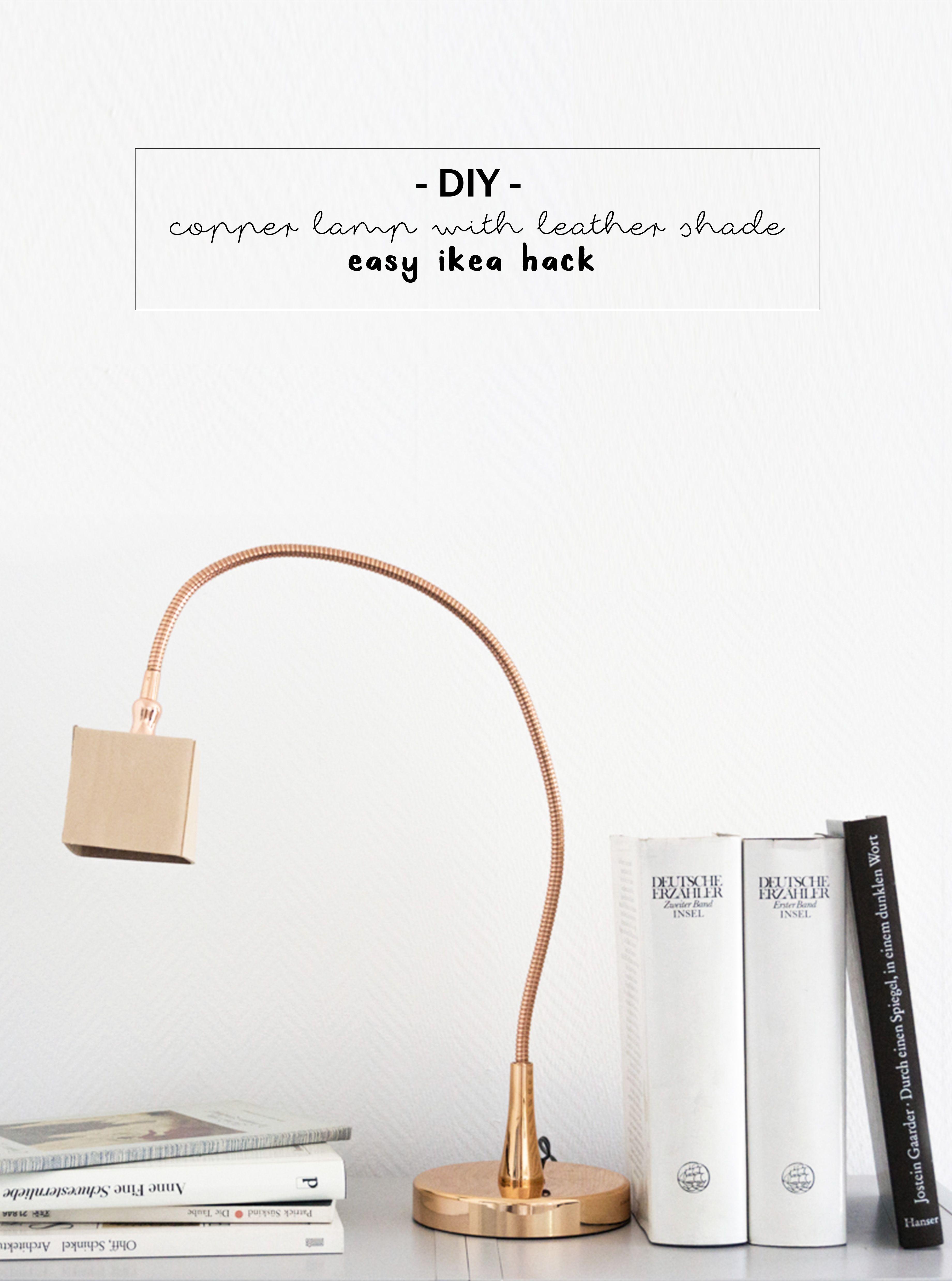licht leder lampe mit kupfer und naturleder diy inspiration ideen zum selbermachen. Black Bedroom Furniture Sets. Home Design Ideas