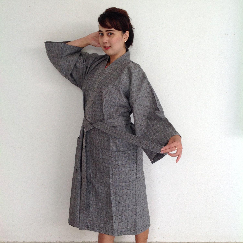 Bathrobe Organic Unisex grey , Kimono Clothing , Cotton bathrobe ...