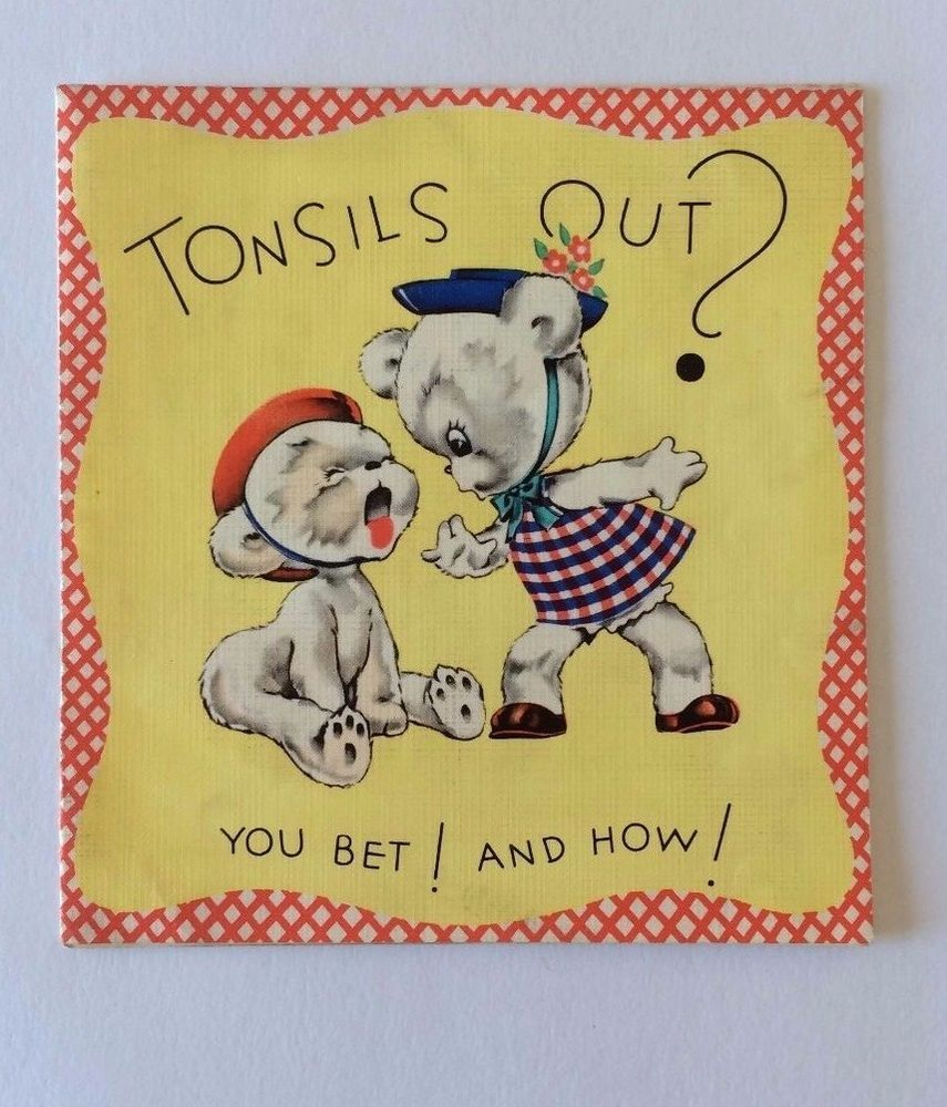 Vintage Greeting Card ~ Bear Looking Into Throat Tonsils Out