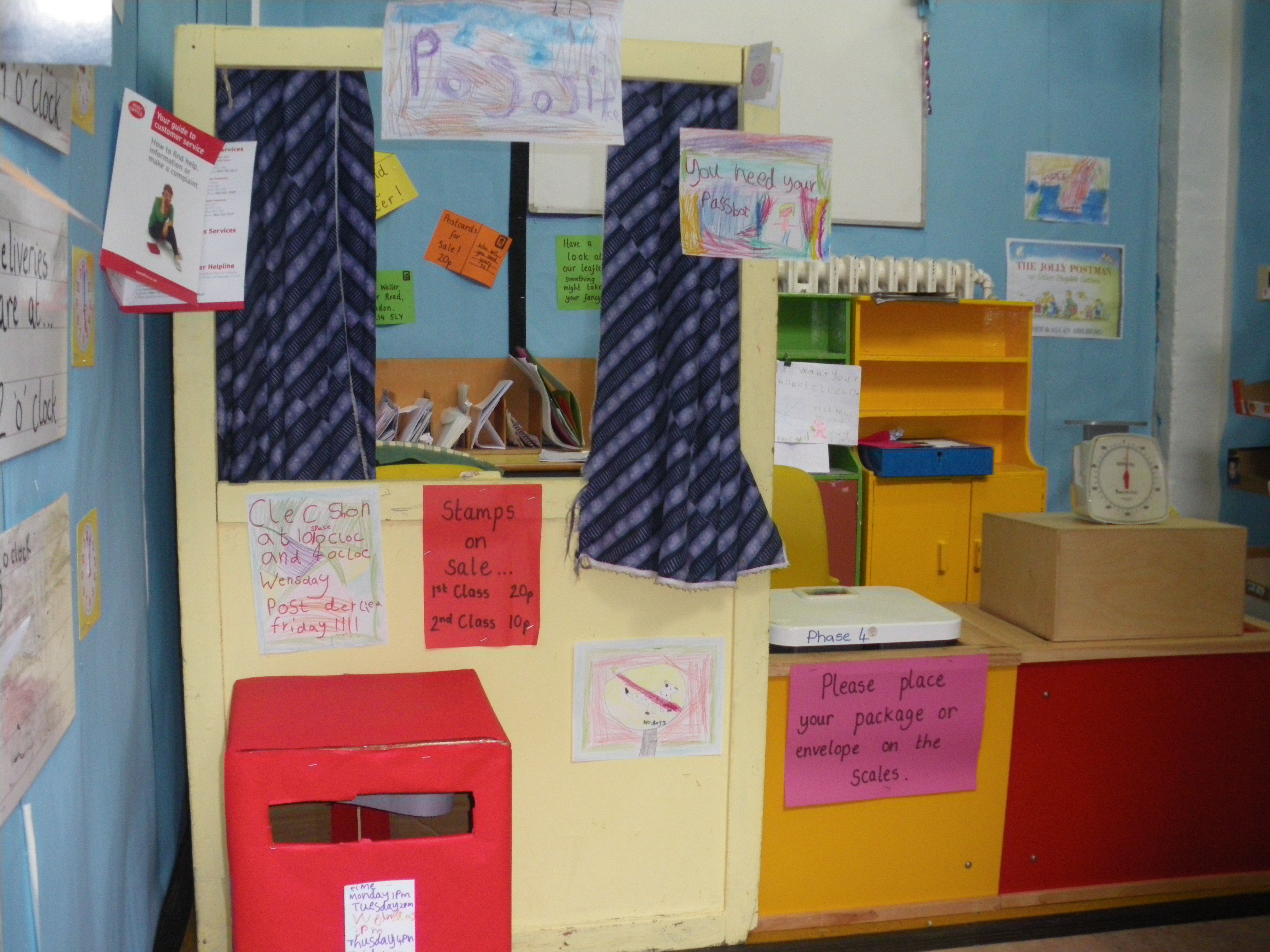 Post Office role play area  Post box for children to use, signs made
