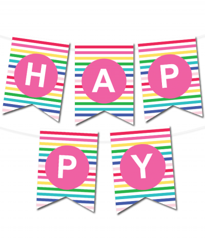 Free Printable Happy Stripes Pennant Banner from printablepartydecor