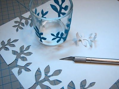 Stencil on glass candle holder..