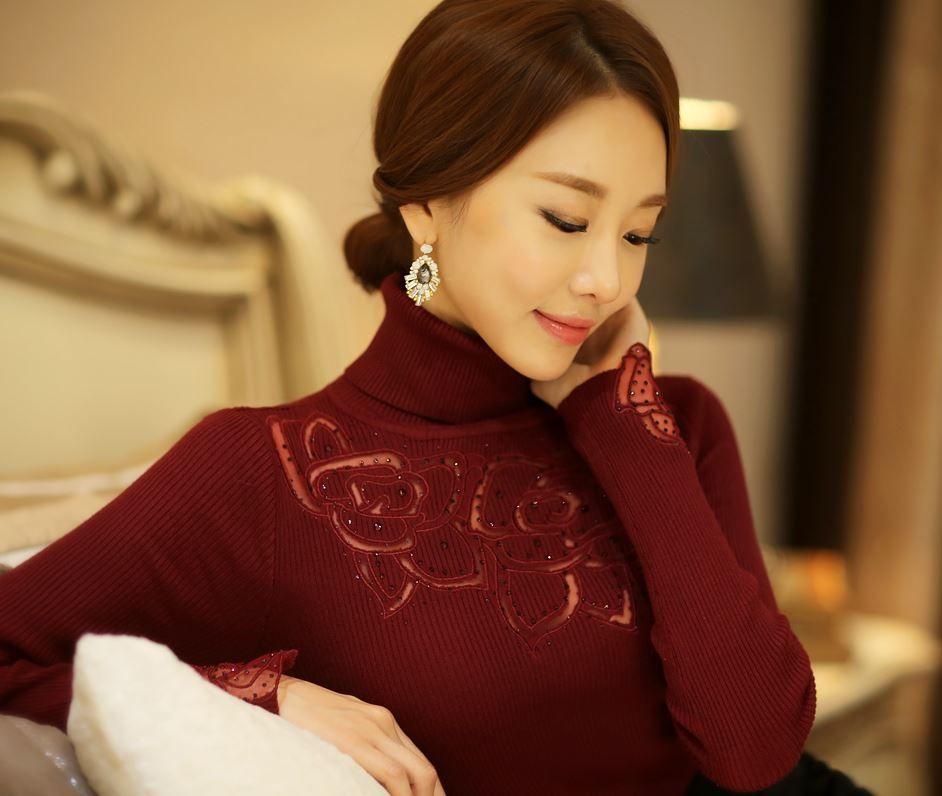 Styleonme_Rose Lace Feminine Turtleneck #knit #knits #rose #floral #lace #feminine #turtleneck