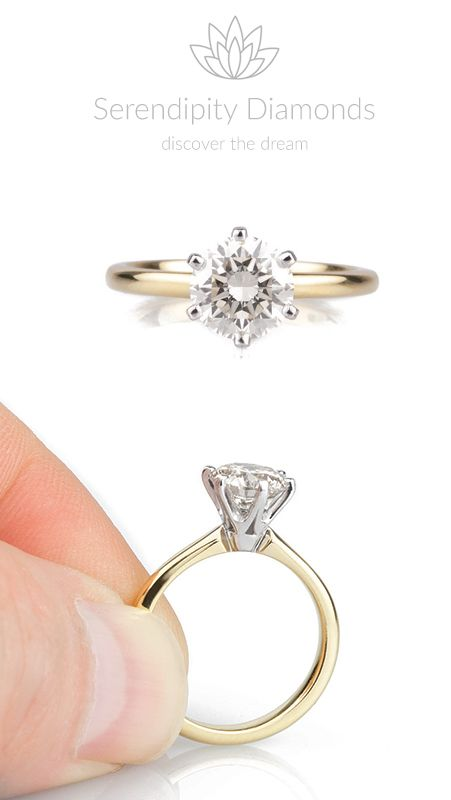 Most popular. The modern classic 6 claw round diamond solitaire engagement ring. Shown here, set with a 1.20cts round brilliant cut diamond in 18ct yellow and white gold. Available from Serendipity Diamonds.