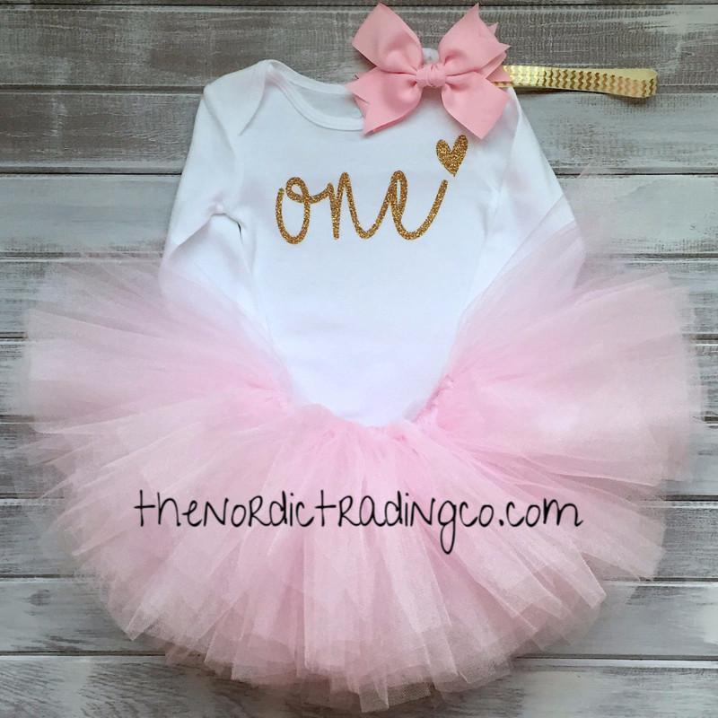 de46bdbf957f One First Birthday Princess Soft Pink Fluff TuTu LS Onesie Top Gold Chevron  Headband Set Baby Infant Toddler Kids Clothes Clothing Skirts   firstbirthdayset ...