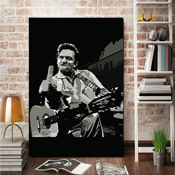 Johnny Cash Canvas Giclee Print Painting Picture Wall Art Canvas Giclee Pictures To Paint Painting