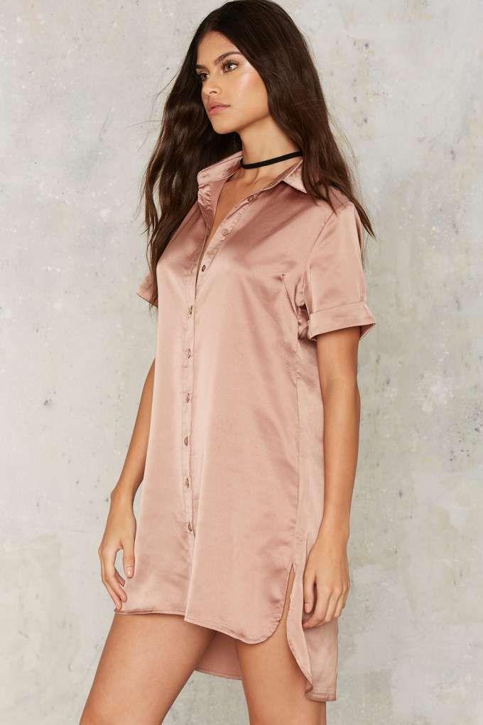 Glamorous Carver Satin Shirt Dress - Cocktail Dresses