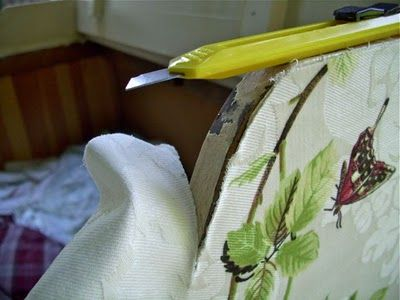 Remodelaholic | Shabby Chic Wooden Furniture Redo Using Fabric and Starch