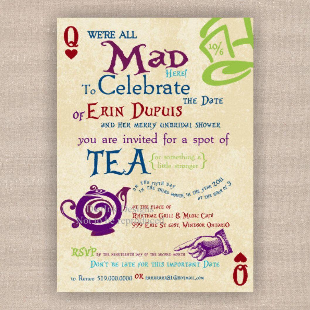 DIY Printable invitations | Alice in Wonderland Shower Ideas ...