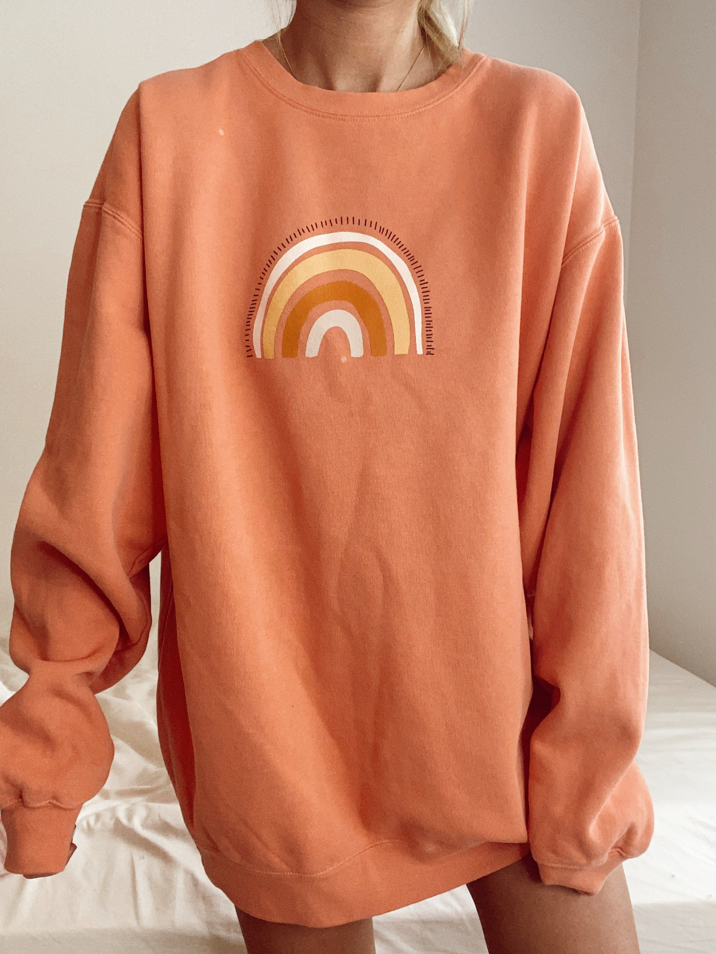 Rainbow Sweatshirt Sunkissedcoconut Sweatshirt Outfit Cozy Sweatshirts Cute Lazy Outfits [ 3088 x 2316 Pixel ]