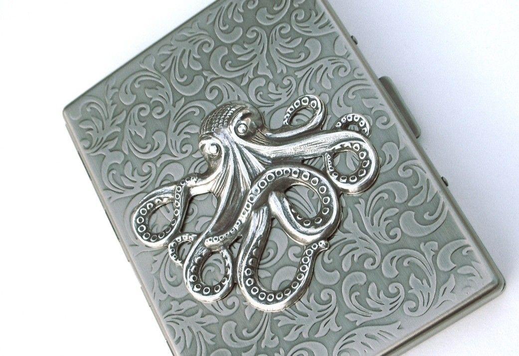 Silver Octopus Cigarette Case Slim Big Victorian Nautical Vintage ...