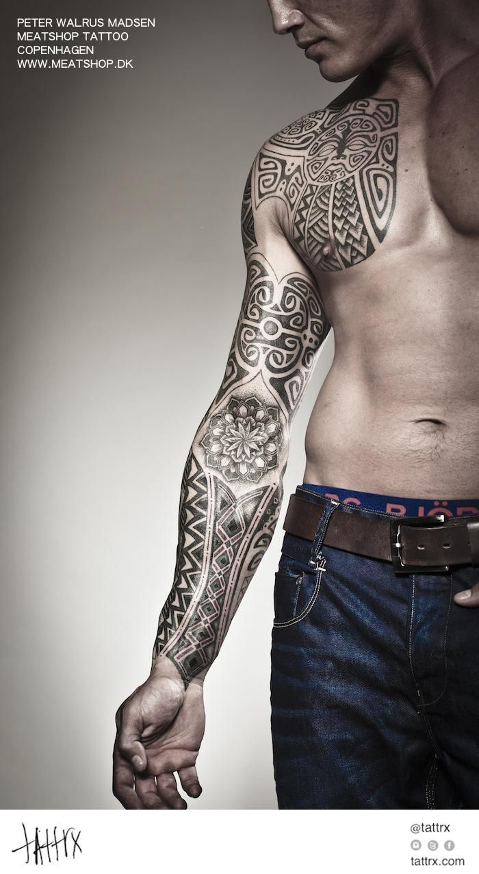 Abstract aztec black and white geometric tribal body for Tribal body tattoo