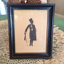 Vintage 1940s BV Silhouette Print Man in Top hat with Cane Framed