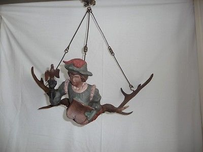 Black Forest Carved Figural Chandelier Falconer Fallow Stag Antlers Lustermandl Antiques Decorative Arts