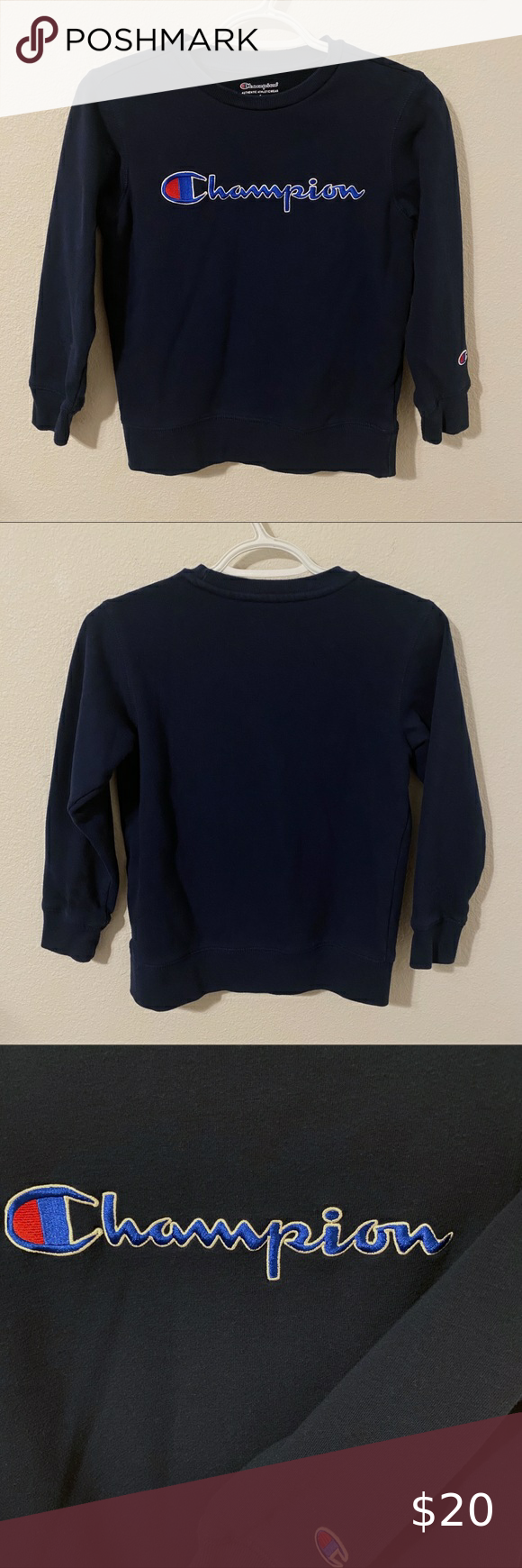 Champion Sweatshirt Champion Dark Navy Blue Sweatshirt Labeled As A Boys Small Fits Like A Women S Xs Only F Champion Sweatshirt Sweatshirts Sweatshirt Tops [ 1740 x 580 Pixel ]