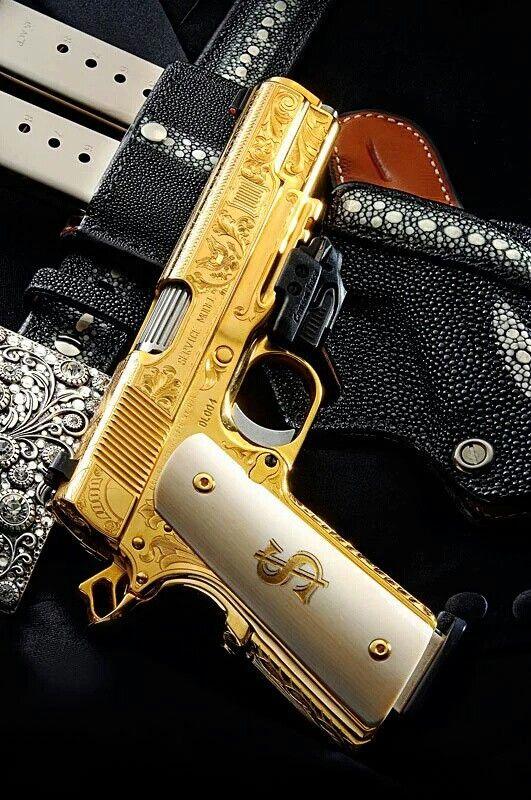 Gold plated colt  45 | guns | Pistolas, Armas de fuego y Armas