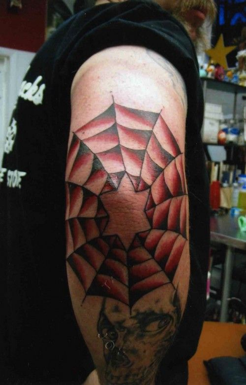 Spider Web Tattoo On Elbow Represent