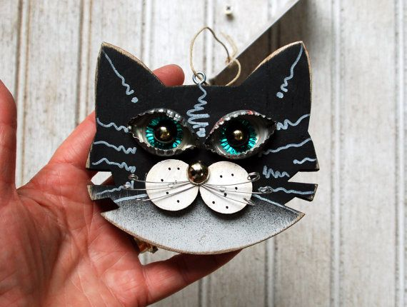 Cat Ornament Recycled Hand Made Cat by KingsBenchCreations on Etsy