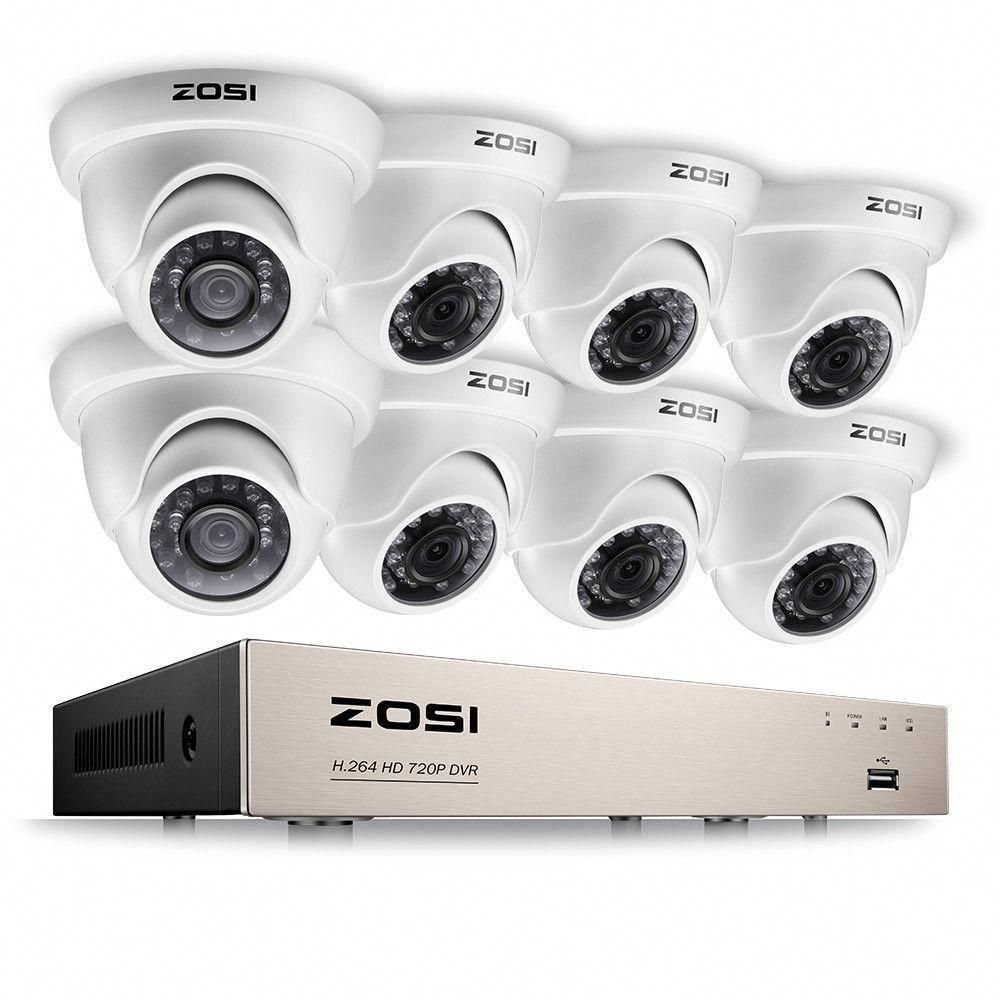 Zosi 8 Channel 720p Dvr Security Camera System With 8 Wired Dome Cameras Homesecuritysystemreviews Video Security System Dome Camera Wireless Home Security