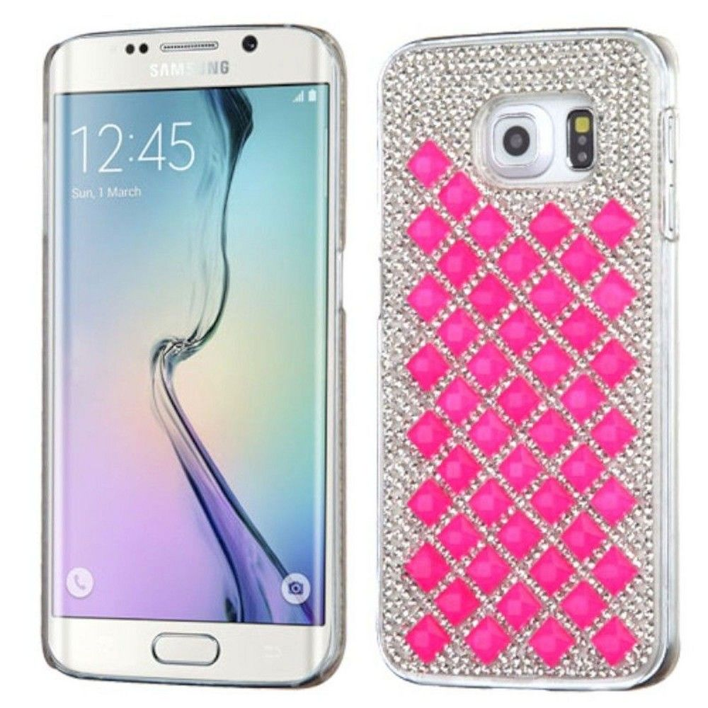 MYBAT For Samsung Galaxy S6 Edge Silver Hot Pink Hard Rhinestone Case Cover