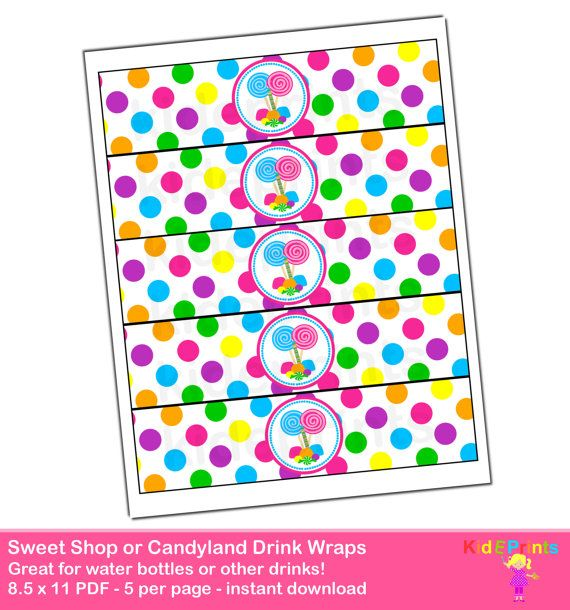 DIGITAL DOWNLOAD Candy Land Candyland Birthday Party Water bottle Labels Drink Wrappers Digital Printable