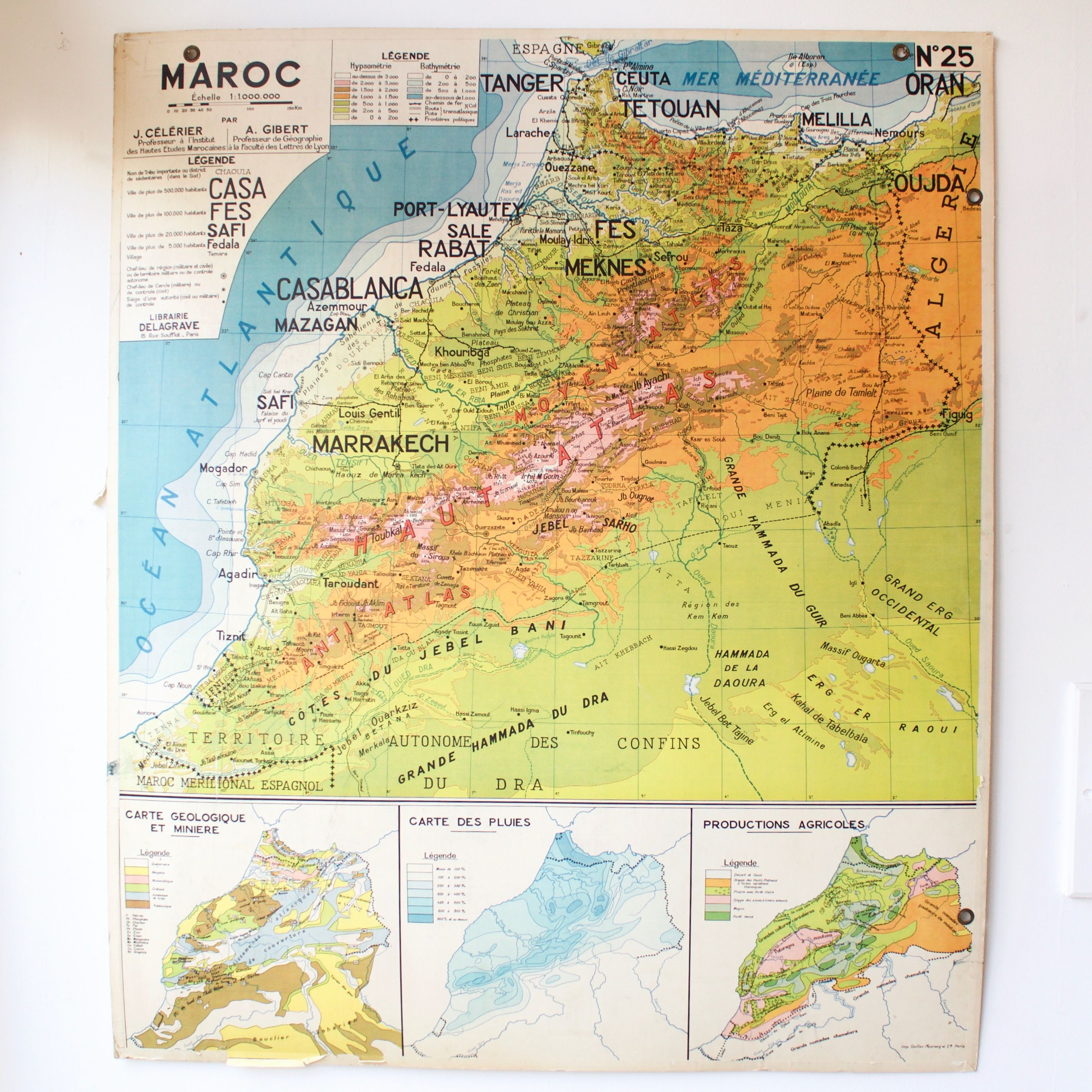 Carte scolaire ancienne N24 Maroc French vintage school map