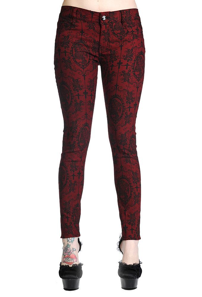Black Red Skull Roses Gothic Emo Punk Rockabilly Leggings By Banned Apparel
